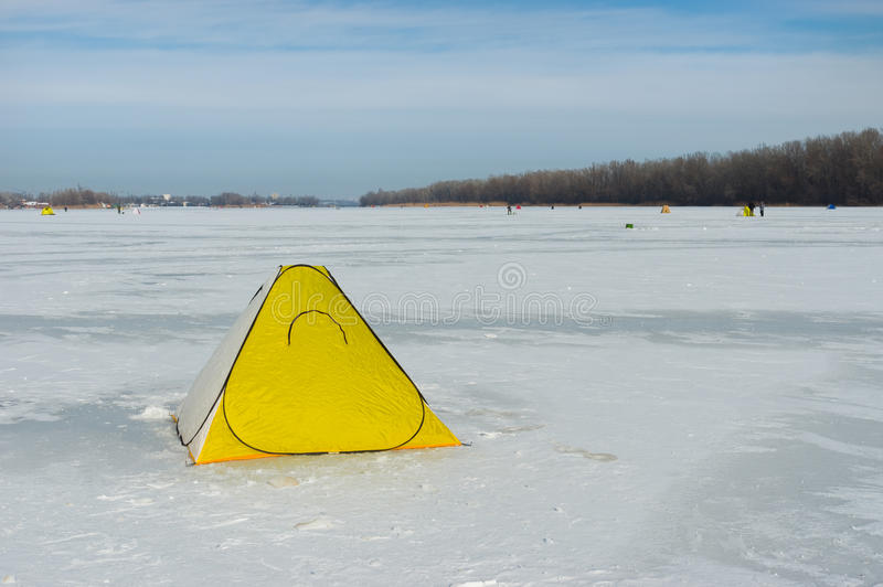 Tent of winter fisherman on a frozen river Dnepr in Dnepropetrosvk city royalty free stock image