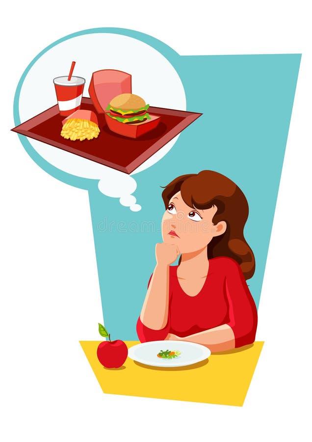 Tentación de la consumición de la dieta ilustración del vector