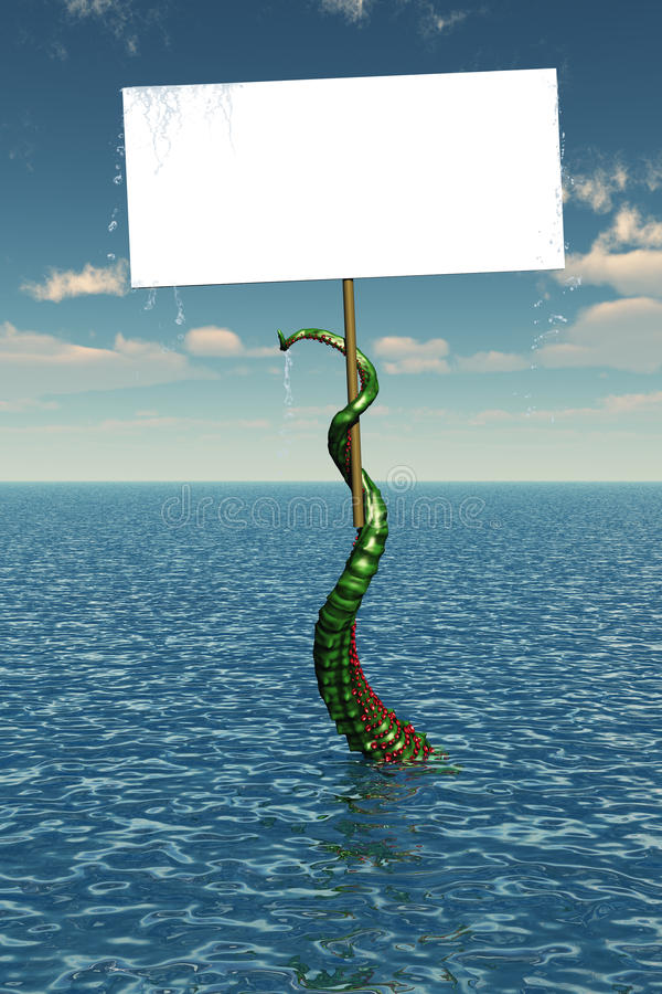 Tentacle in Sea with Blank Sign vector illustration