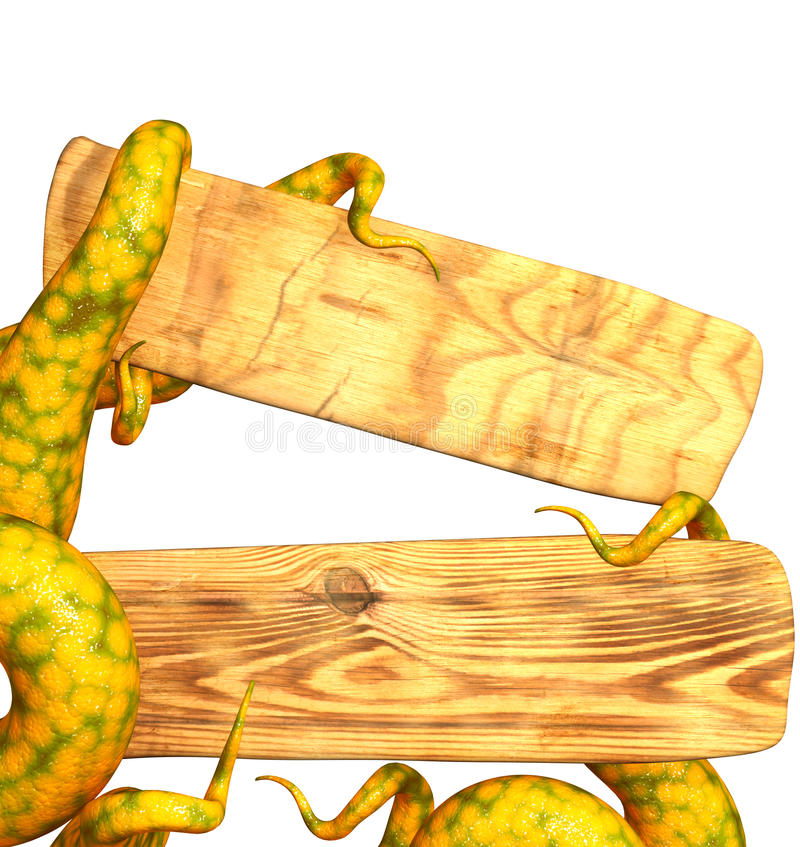 Download Tentacles Of A Monster, Holding A Wooden Board Stock Images - Image: 15619034