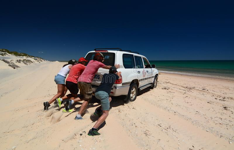 Tentando a solto o carro da areia Baía da garrafa Parque nacional de François Peron Baía do tubarão Austrália Ocidental imagem de stock royalty free