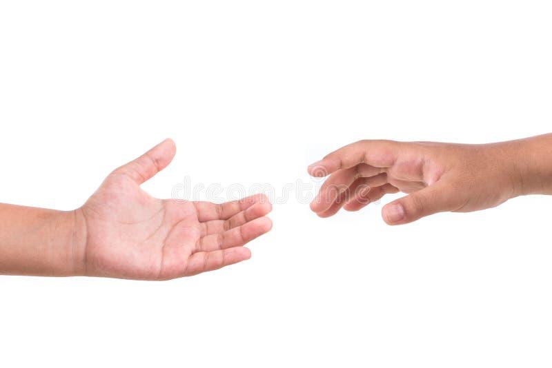 Tentativa de duas mãos a alcançar Conceito da ajuda Isolado no branco imagens de stock royalty free