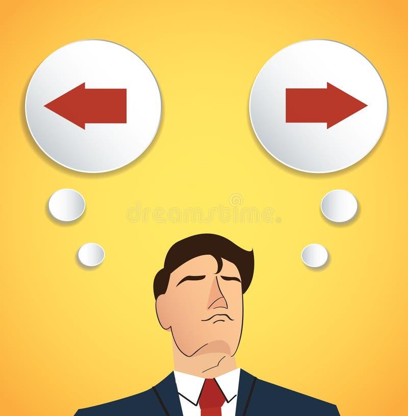 Tentativa do homem de negócios para fazer o vetor da decisão, o esquerdo ou o direito ilustração royalty free