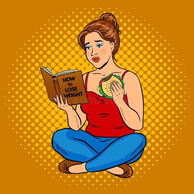 Tentativa gorda da menina para perder o vetor do pop art do peso ilustração stock