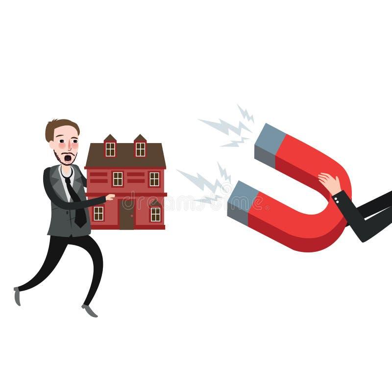 Tentativa home da execução duma hipoteca da casa da garra a defender ilustração do vetor