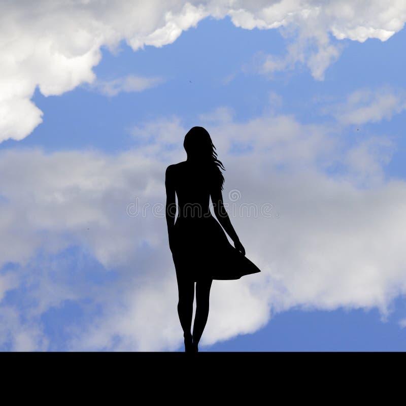 Tentativo suicida, condizione della ragazza sull'orlo di un tetto illustrazione vettoriale