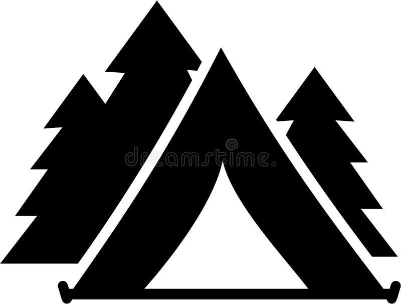 Tente avec des arbres illustration stock