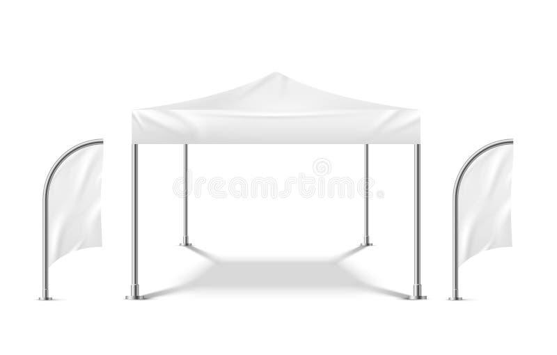Tente blanche avec des drapeaux Calibre campant mobile de tente de partie de pavillon matériel extérieur d'événement de plage de  illustration stock