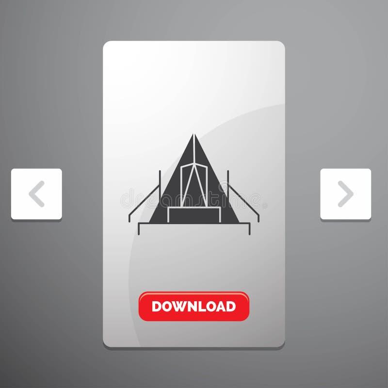 tente, camping, camp, terrain de camping, icône extérieure de Glyph dans la conception de glisseur de paginations de beuverie et  illustration libre de droits