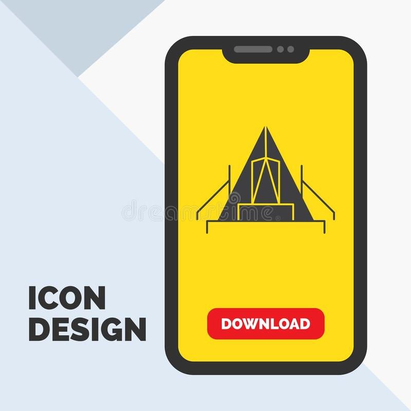 tente, camping, camp, terrain de camping, icône extérieure de Glyph dans le mobile pour la page de téléchargement Fond jaune illustration de vecteur