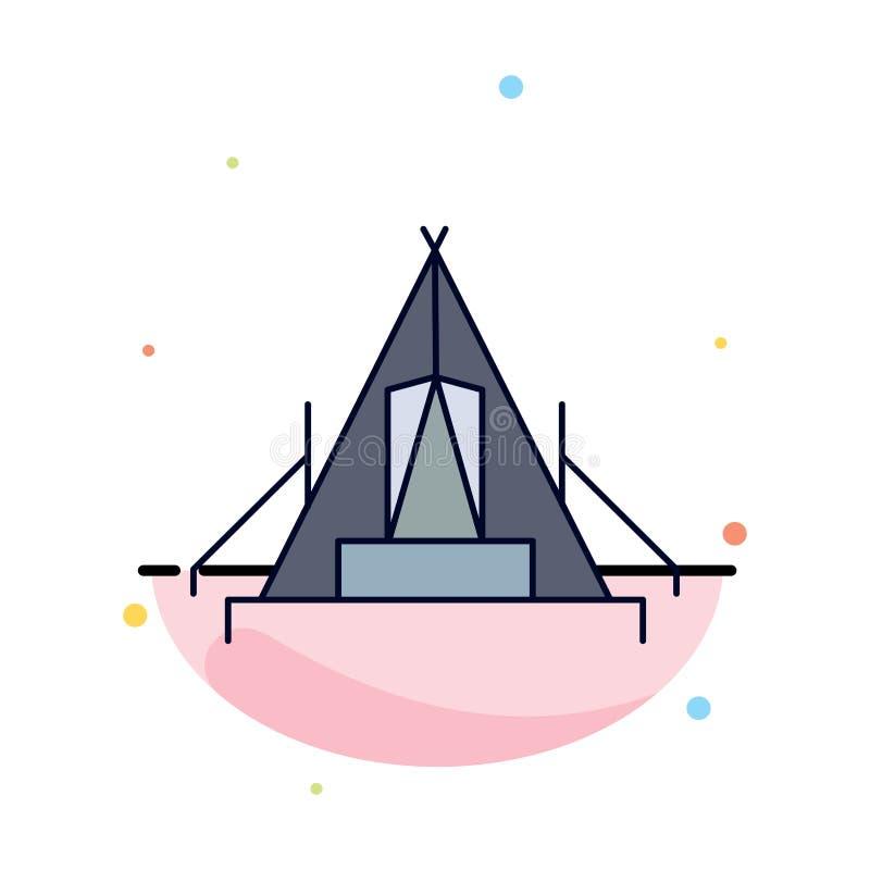 tente, camping, camp, terrain de camping, vecteur plat extérieur d'icône de couleur illustration de vecteur
