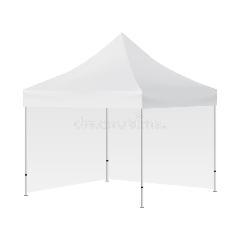 Tente carrée vide avec la maquette de deux murs d'isolement illustration stock