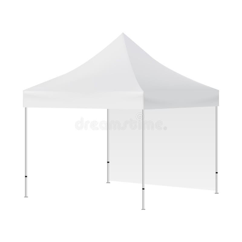 Tente carrée vide avec une moquerie de mur d'isolement sur le fond blanc - vue de côté illustration stock