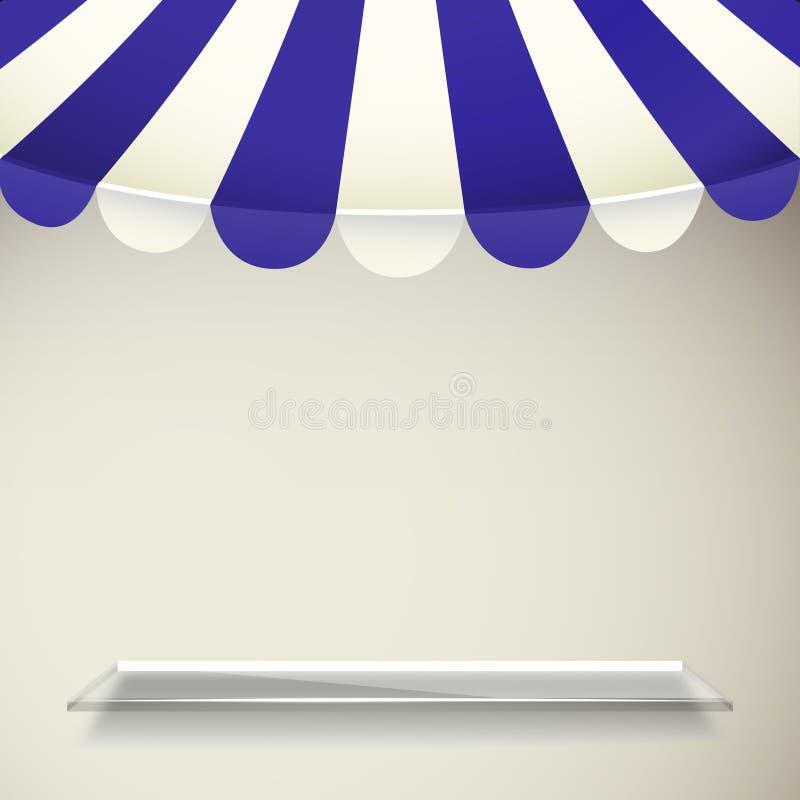 Tente de boutique de bande de bleu et de blanc avec l'étagère transparente illustration stock