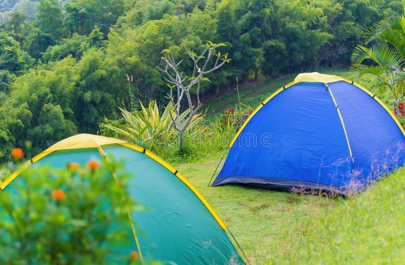 Tente de camping dans le terrain de camping au parc national photographie stock libre de droits