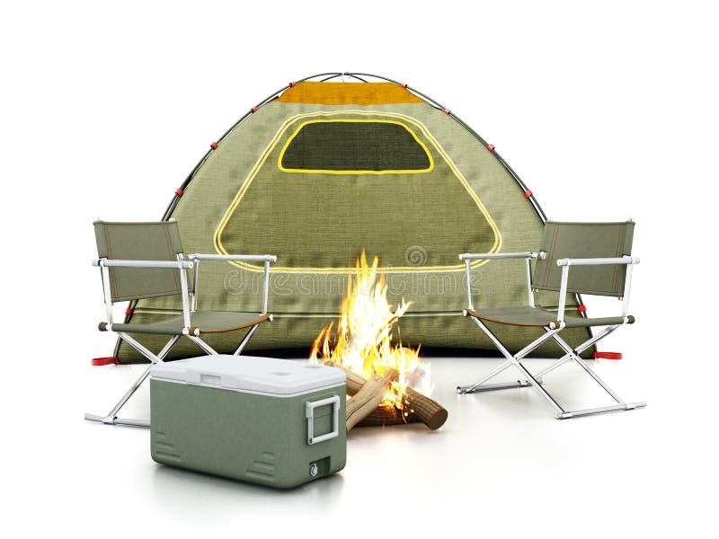Tente de camping, sièges, feu et refroidisseur sur le fond blanc illustration 3D illustration libre de droits