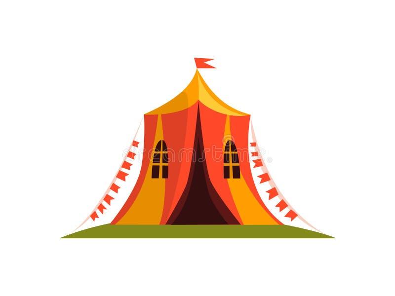 Tente de cirque de cru avec l'illustration de vecteur de bande dessinée de drapeaux illustration de vecteur