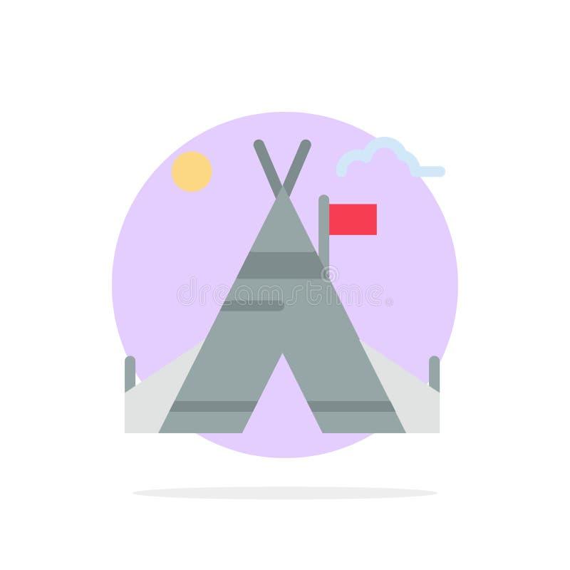 Tente libre, tente, camp, icône plate de couleur de fond abstrait américain de cercle illustration de vecteur