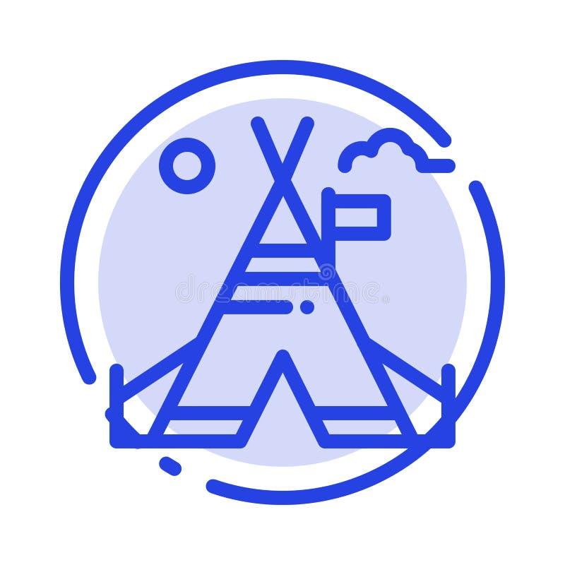 Tente libre, tente, camp, ligne pointillée bleue américaine ligne icône illustration stock