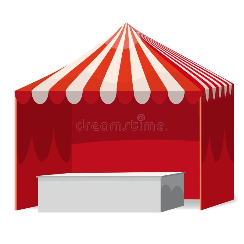 Tente rouge automatique dépouillée de salon commercial extérieur promotionnel d'événement avec le contre- chapiteau mobile Maquet illustration libre de droits