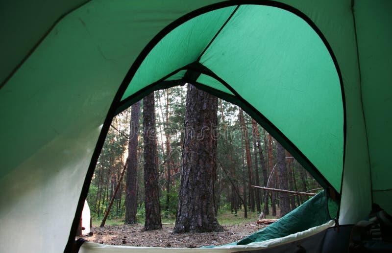 Tente sur la forêt image libre de droits