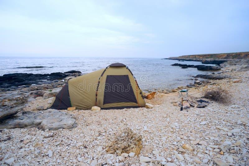 Tente sur la plage avec le chien à l'entrée images libres de droits