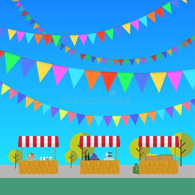 Tente sur le marché, les produits de la ferme, le vin et les raisins, limonade et illustration libre de droits