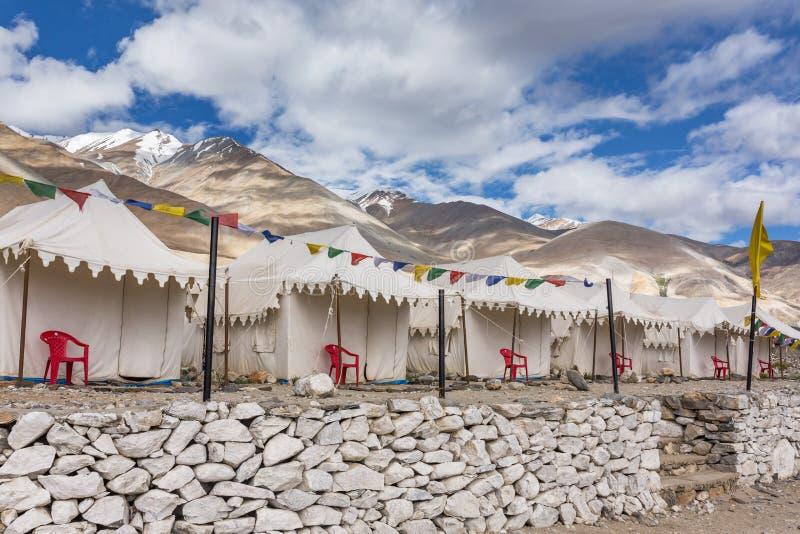 Tented tourist camp at Pangong Tso Lake in Ladakh. India stock photo