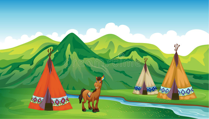 Tenten en een het glimlachen paard vector illustratie