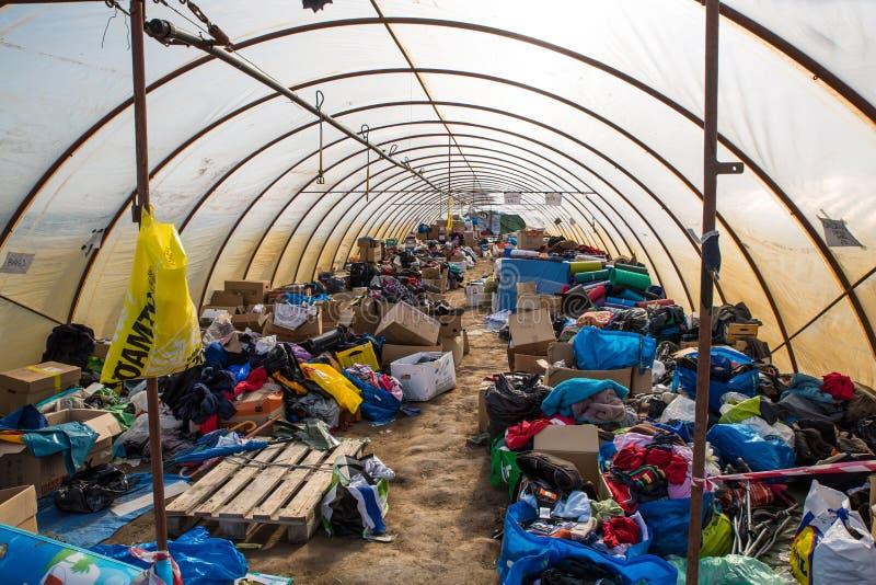 Tenten in het lege Vluchtelingskamp in Roeszke royalty-vrije stock foto's