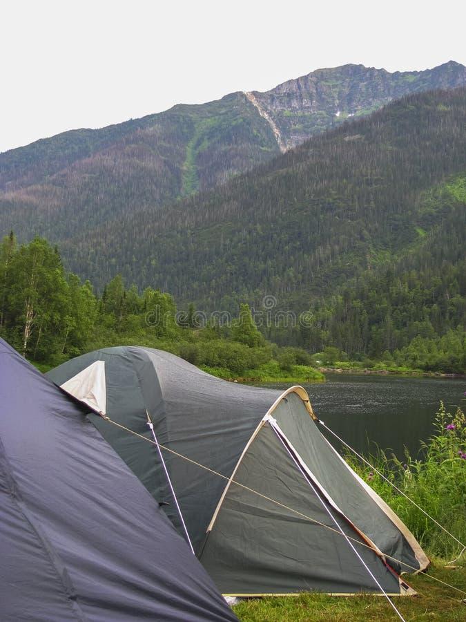 Tenten op de bank van het meer stock foto's