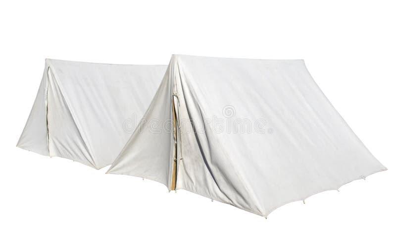 Tenten op wit worden geïsoleerd dat royalty-vrije stock foto's