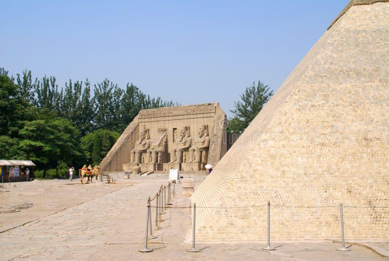 Tentoongesteld voorwerp van Egypte in park van de wereld, Pekin, Kin stock foto's