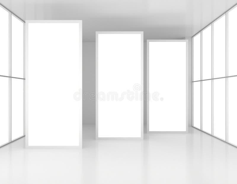Tentoonstelling Complex met drie aanplakborden in centrum vector illustratie