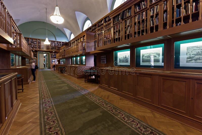 Tentoonstelling in de Nationale Bibliotheek van Rusland stock foto
