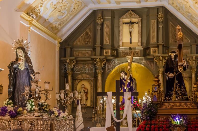 Tentoonstelling van godsdienstige standbeelden tijdens de Heilige Week in Palencia, Spanje stock afbeelding