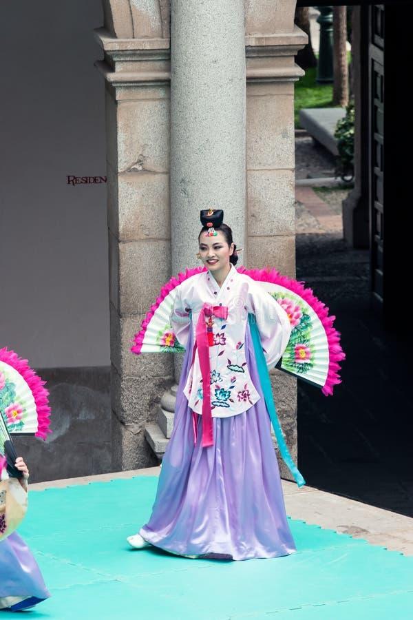 Tentoonstelling van Koreaanse dans stock foto