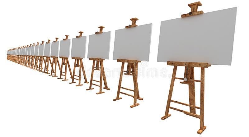 Tentoonstelling van schildersezels met leeg canvas stock illustratie