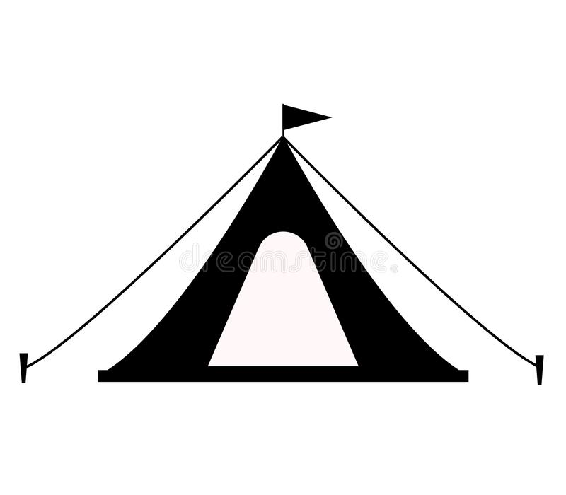 Tentpictogram op witte achtergrond Vlakke stijl het pictogram van de toeristentent voor uw websiteontwerp, embleem, app, UI tent  royalty-vrije illustratie