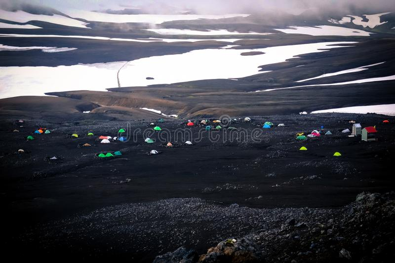Tents built in a resting place, Landmannalaugar, Iceland. royalty free stock image
