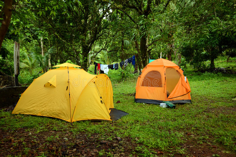 Download Tents On Campground With Laundry Hanging Up To Dry On Line Stock Photo - Image: 31542208
