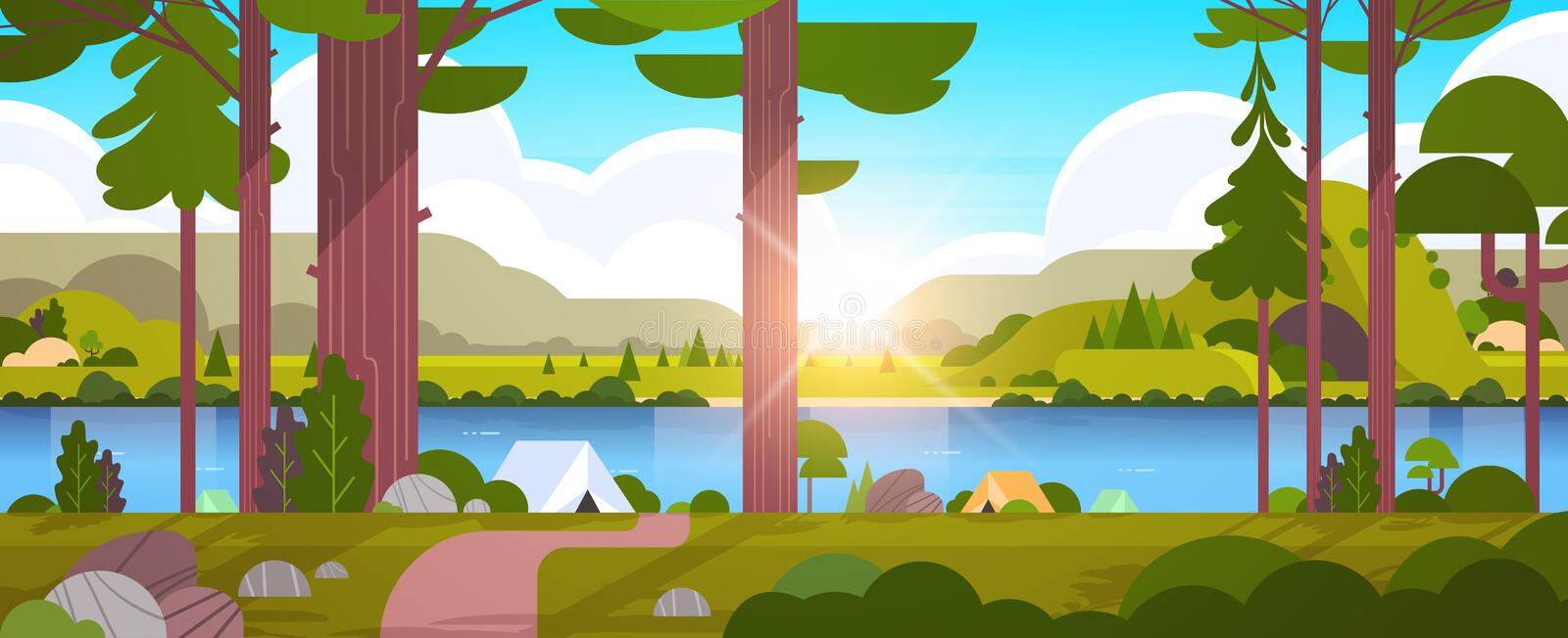 Tents camping area in forest summer camp concept sunny day sunrise landscape nature background with water mountains and royalty free illustration