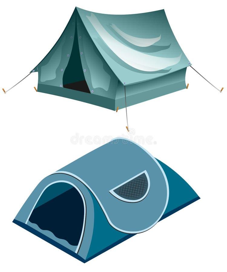 Tents camping. Summer rest tents. Vector tent illustration stock illustration