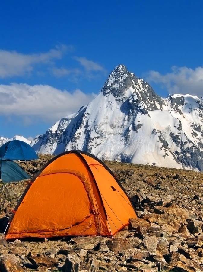 Tents of climbers in the mountains stock photo