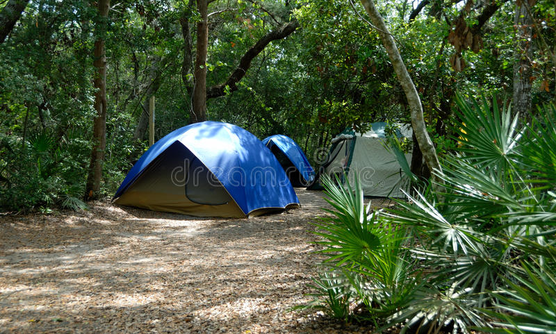 Tents In Forest Clearing Stock Photos