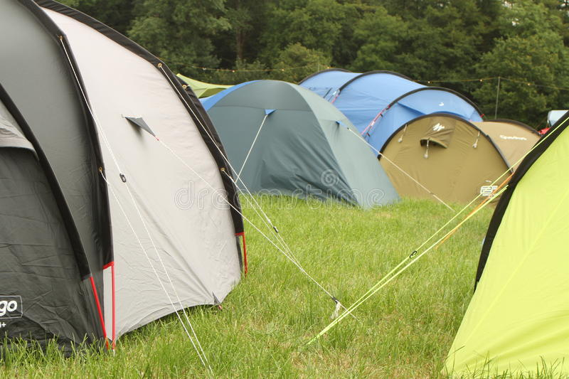 Tents and more tents. Full campsite with tents as far as you can see at the first ever Somersault music and outdoor festival at the beautiful Castle Hill estate stock images