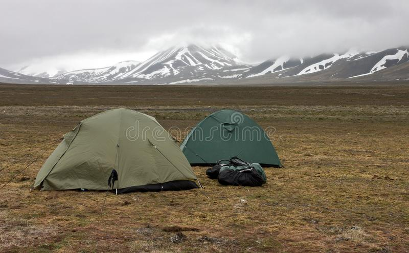 Tents in tundra in the Svalbard archipelago