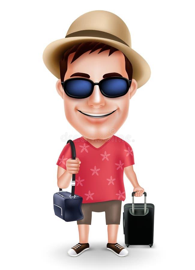 Tenue décontractée de port et chapeau de voyageur d'homme de caractère de touristes de vecteur avec des sacs de déplacement illustration libre de droits