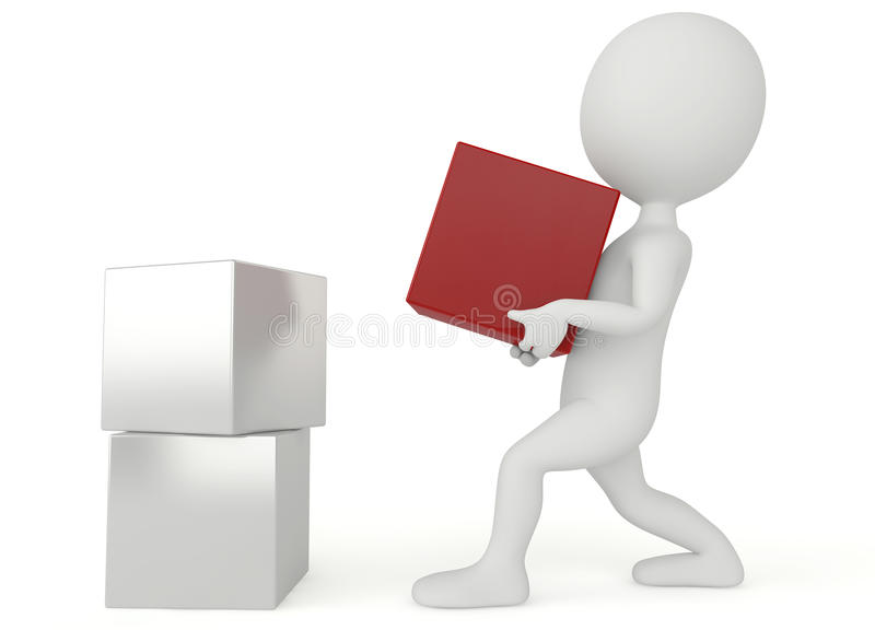 tenuta del carattere di umanoide 3d una scatola rossa illustrazione di stock