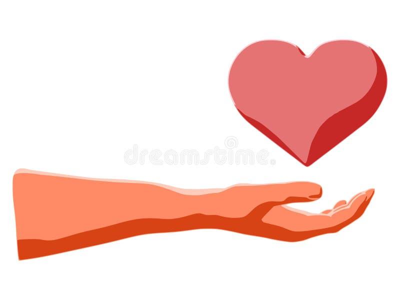 Tenuta del cuore a disposizione come espressione stilizzata di amore romantico illustrazione di stock